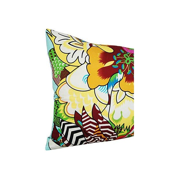 Large Custom Colorful Silk Floral Lumbar Pillow - Image 3 of 7
