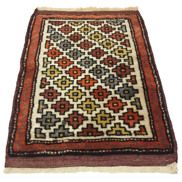 Boho Chic Bold Design Vintage Yastik | 1'7 X 2'2 Turkish Carpet For Sale - Image 3 of 3