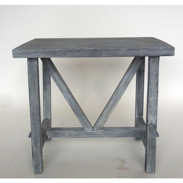 Reclaimed douglas fir side or end table in a grey ceruse finish. Can be made in any size in a variety of finishes. Made in...
