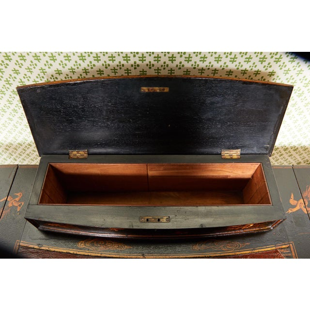 Metal 19th Century Regency Ebonized Chinoiserie Writing Table For Sale - Image 7 of 11