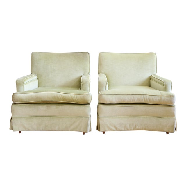 Mid-Century Modern Green Velvet Club Chairs - A Pair - Image 1 of 9