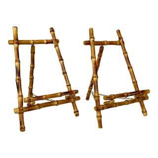 Mid Century Bamboo Easels with Brass Chains - a Pair For Sale