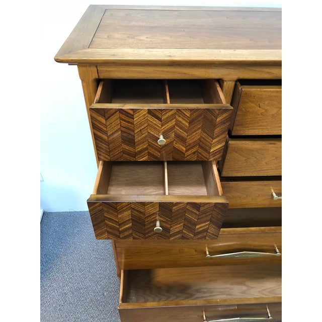 "Metal Mid-Century Tomlinson ""Sophisticate"" 9-Drawer Tall Chest For Sale - Image 7 of 9"
