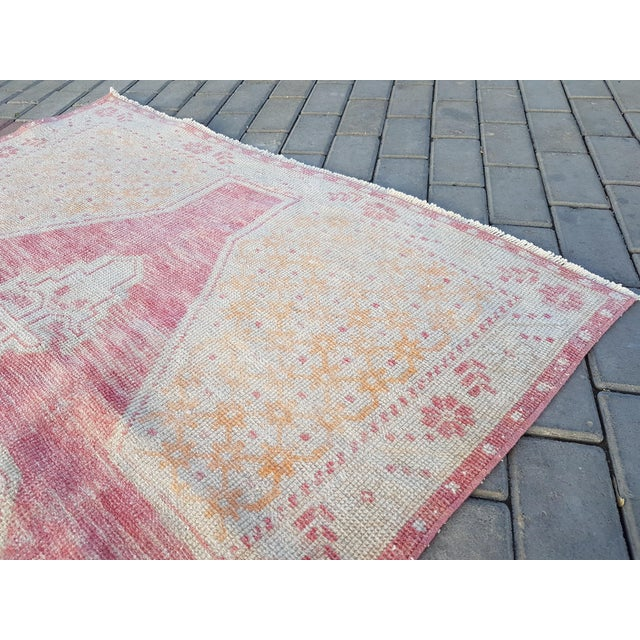 """Distressed Red and Yellow Turkish Rug 4'1"""" X 8'6"""" For Sale In Dallas - Image 6 of 12"""