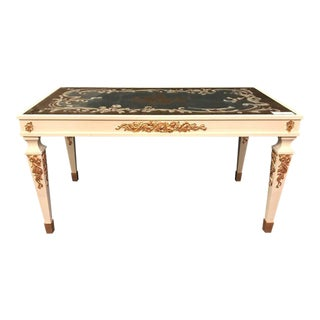 Hollywood Regency Eglomise Top Parcel Paint and Gilt Decorated Coffee Table For Sale