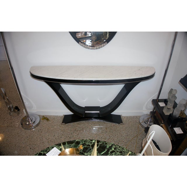 Wood Black and Silver Console and Mirror From South Beach - 2 Pc. Set For Sale - Image 7 of 12
