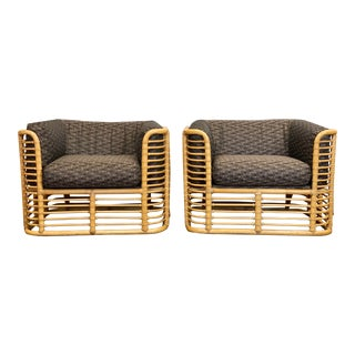 1980s McGuire Bamboo Club Chairs - a Pair For Sale