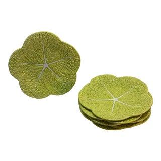 Portuguese Handmade Green Ceramic Lettuce Plates - Set of 12 For Sale