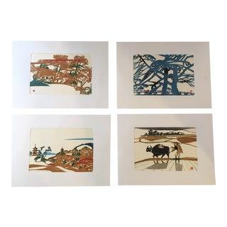 Japanese Original Block Prints - Set of 4 For Sale