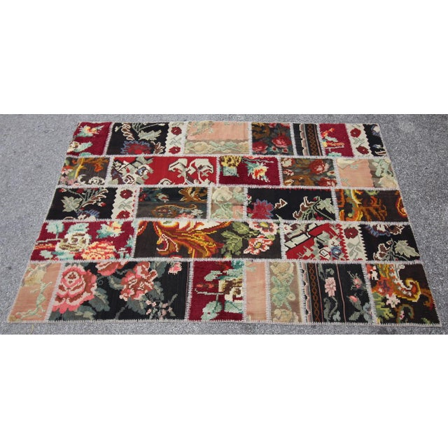 Vintage Turkish Besarabian Patchwork Kilim Rug - 5′6″ × 8′2″ - Image 3 of 6