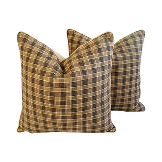 "Custom Tailored Lee Jofa Leiton Plaid Feather/Down Pillows 23"" Square - Pair For Sale"