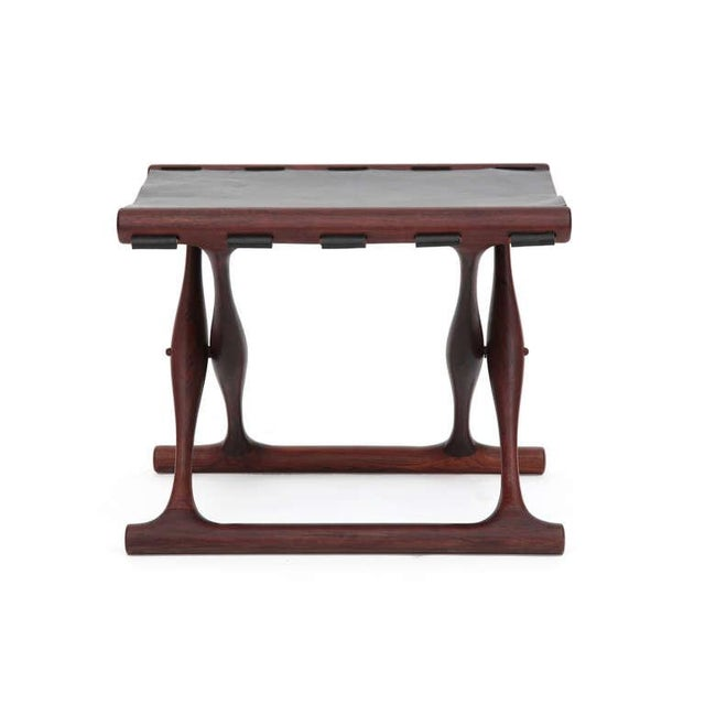 Mid-Century Modern Rare Poul Hundevad Rosewood Folding Stool For Sale - Image 3 of 6