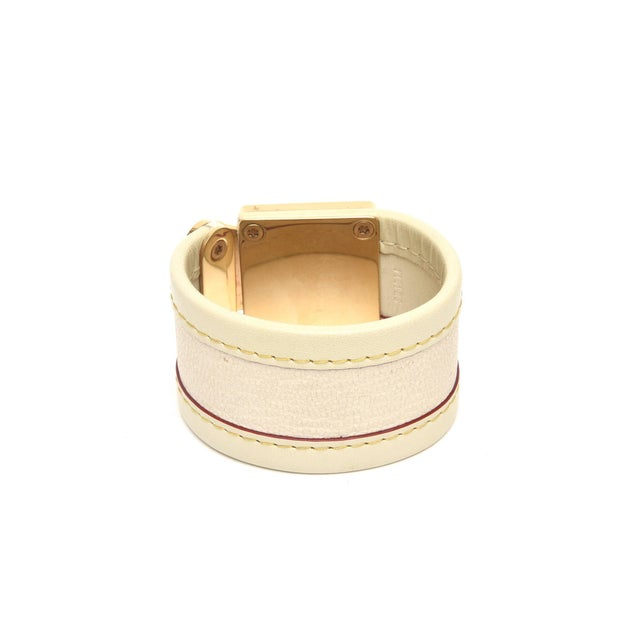 Louis Vuitton Louis Vuitton Leather and Gold Plated Brass Hardware Cuff Bracelet For Sale - Image 4 of 11