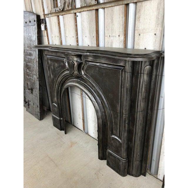 Antique Cast Iron Fireplace Mantel. Circa 19th Century.