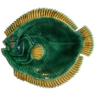English Majolica Flounder Plate by Holdcroft