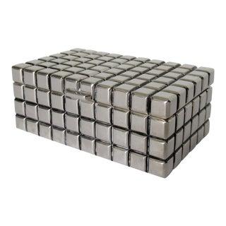 Silver Plate Modernist, Geometric-Style Lidded Keepsake Box For Sale