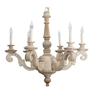 Parcel Silver-Gilt and Washed Pine Six-Arm Chandelier, Mid-20th Century