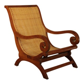 British Colonial Style Anglo Indian Style Plantation Lounge Chair For Sale