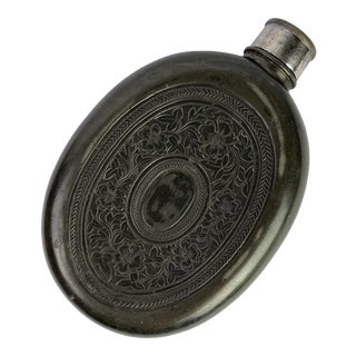 Late 19th Century English Pewter Flask For Sale