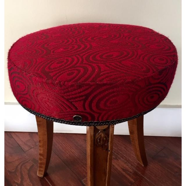 """""""Mezzo piano"""" by SidebySide Early 20th century Art Deco round piano stool brought into the 21st with a vibrant red..."""