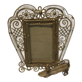 Vintage Primitive Gold Wire Picture Frame For Sale