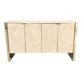 Hollywood Regency Travertine & Brass Credenza by Ello For Sale