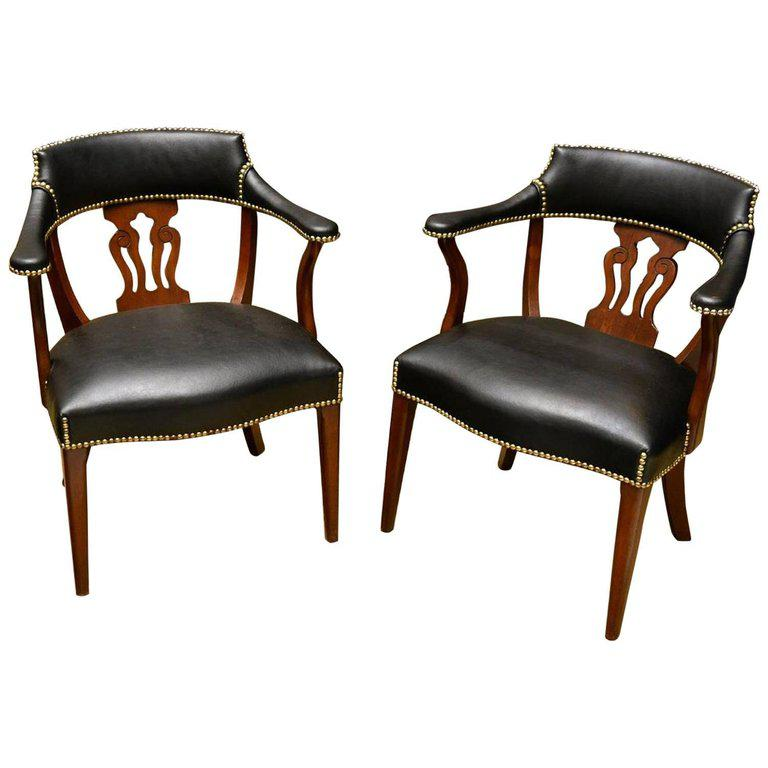 Brown Gorgeous Pair Of Modern English Mahogany And Leather Captains Chairs  For Sale   Image 8