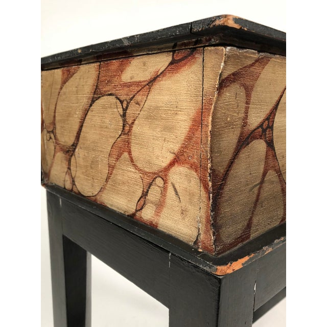 19th Century Painted Wood Book Box on Stand For Sale - Image 11 of 13