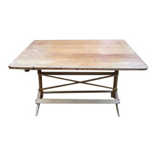 1990s Rustic Solid Oak Adjustable Height and Tilt Top Drafting Table For Sale