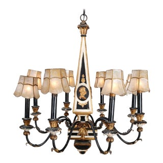 English Adam Style Embossed Ebonized and Gilt 8-Arm Cameo Chandelier, circa 1930 For Sale