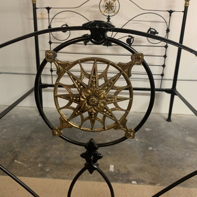 Black 19th Century Victorian Brass and Iron King Bedframe For Sale - Image 8 of 13