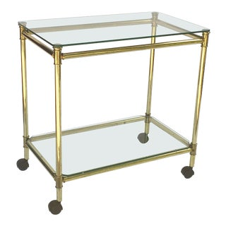 French Drinks Cart or Trolley of Brass and Glass For Sale