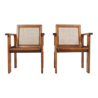 1930's Oak Art Deco Arm Chairs with Caned Seats - A Pair