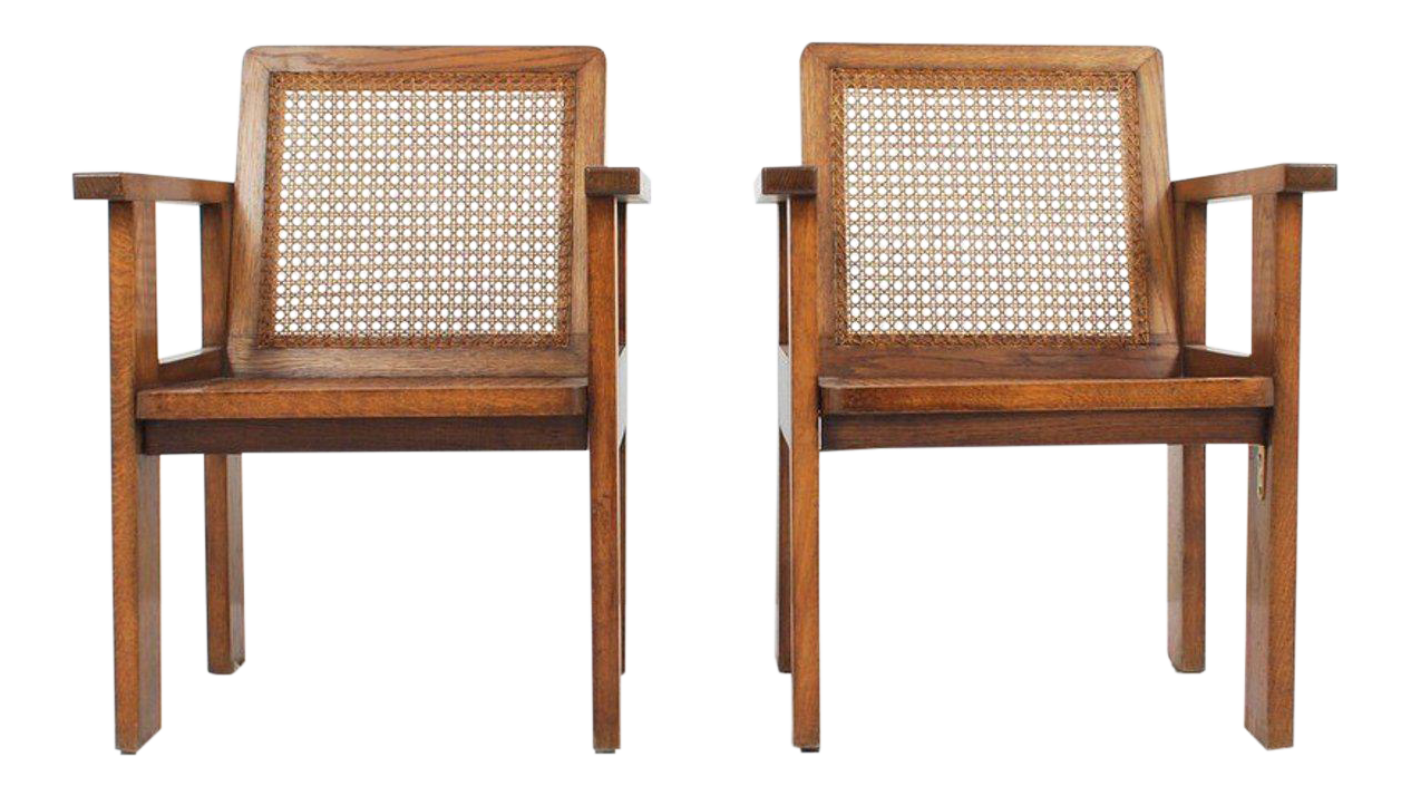 Elegant 1930u0027s Oak Art Deco Arm Chairs With Caned Seats   A Pair
