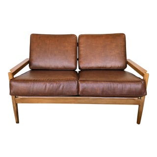Mid-Century Upholstered Borge Jensen Danish Leather Love Seat For Sale