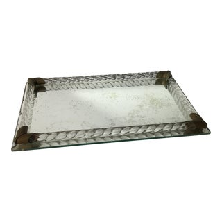 Antique Brass and Italian Murano Glass Rope Tray