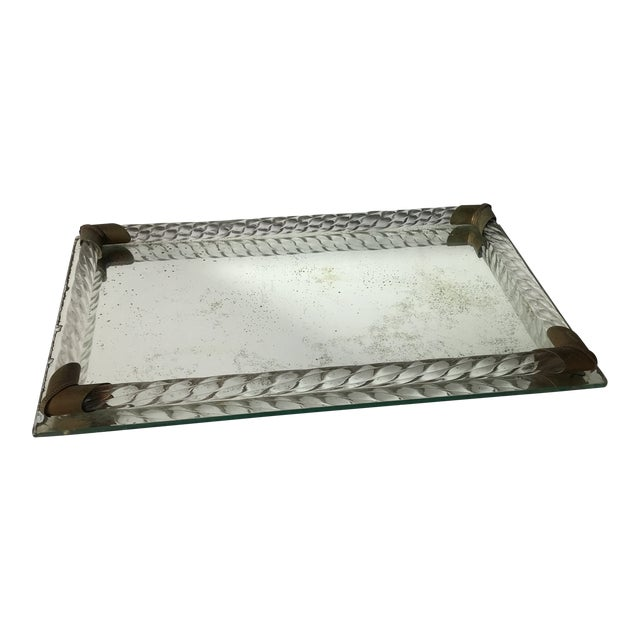 Antique Brass and Italian Murano Glass Rope Tray For Sale
