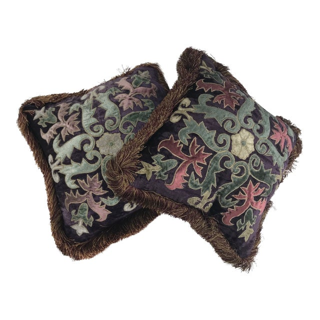 Modern Embroidered Velvet Pillows - A Pair For Sale