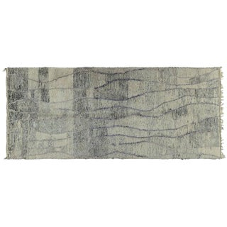 Gray Striped Moroccan Rug - 5′ × 11′5″ For Sale