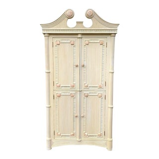 Coastal Cerused Bamboo and Pencil Reed Armoire For Sale
