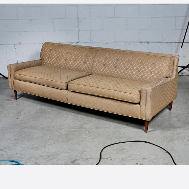 Vintage Mid Century Modern Low Back Couch Sofa