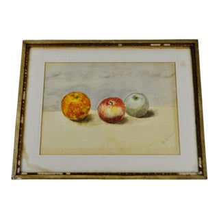 Antique Original Still Life Watercolor Painting - Pencil Signed For Sale
