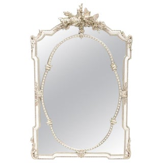 French Silver Leafed Carved Giltwood Mirror For Sale