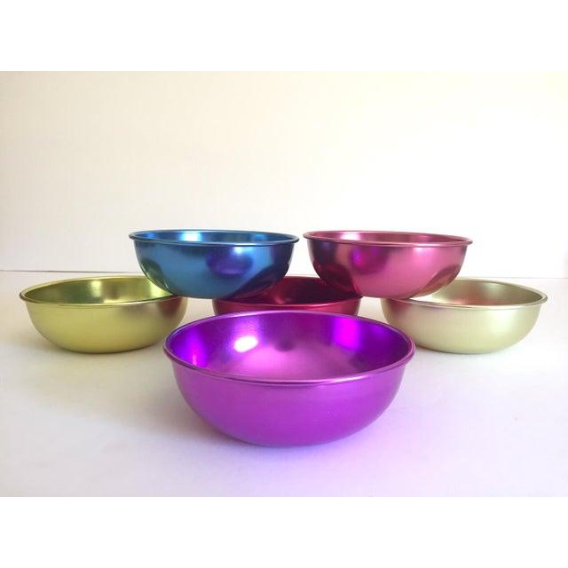 Vintage Mid Century Modern Anodized Spun Aluminum Multicolor Snack Dessert Bowls - Set of 6 For Sale In Kansas City - Image 6 of 13
