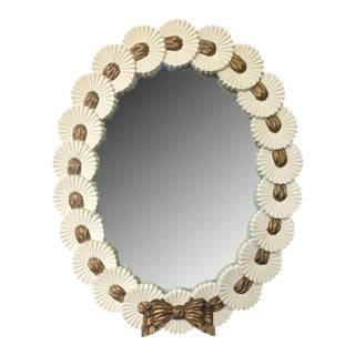 Vintage Heavy Oval Mirror With Gold Bow For Sale