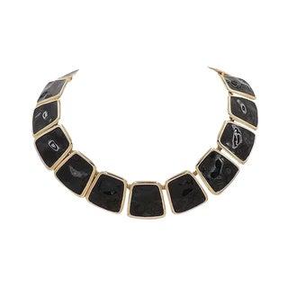 Monet Ad Piece Black Enamel Collar Necklace, 1972 For Sale