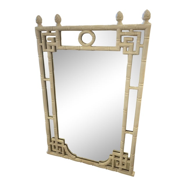 Vintage Chinese Chippendale White Faux Bamboo Greek Key Wall Mirror For Sale