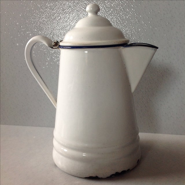 French Country White Enamel Pitcher - Image 2 of 11