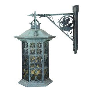 Vintage Verdigris Iron Nautical Heraldic Carriage Lantern Wall Sconce For Sale