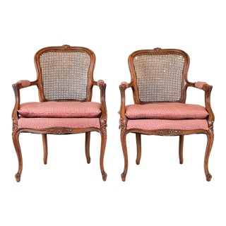 Pair of French Country Style Caned Chairs For Sale
